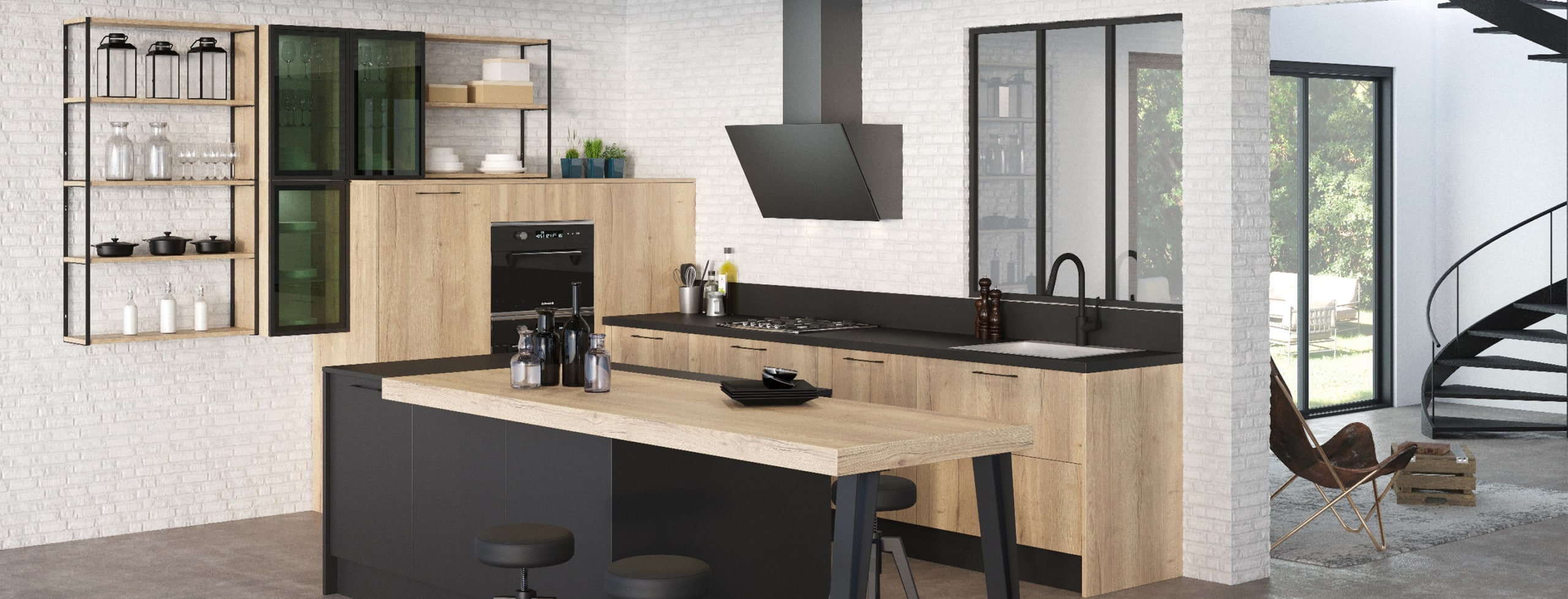 cuisine style industriel bois et noir