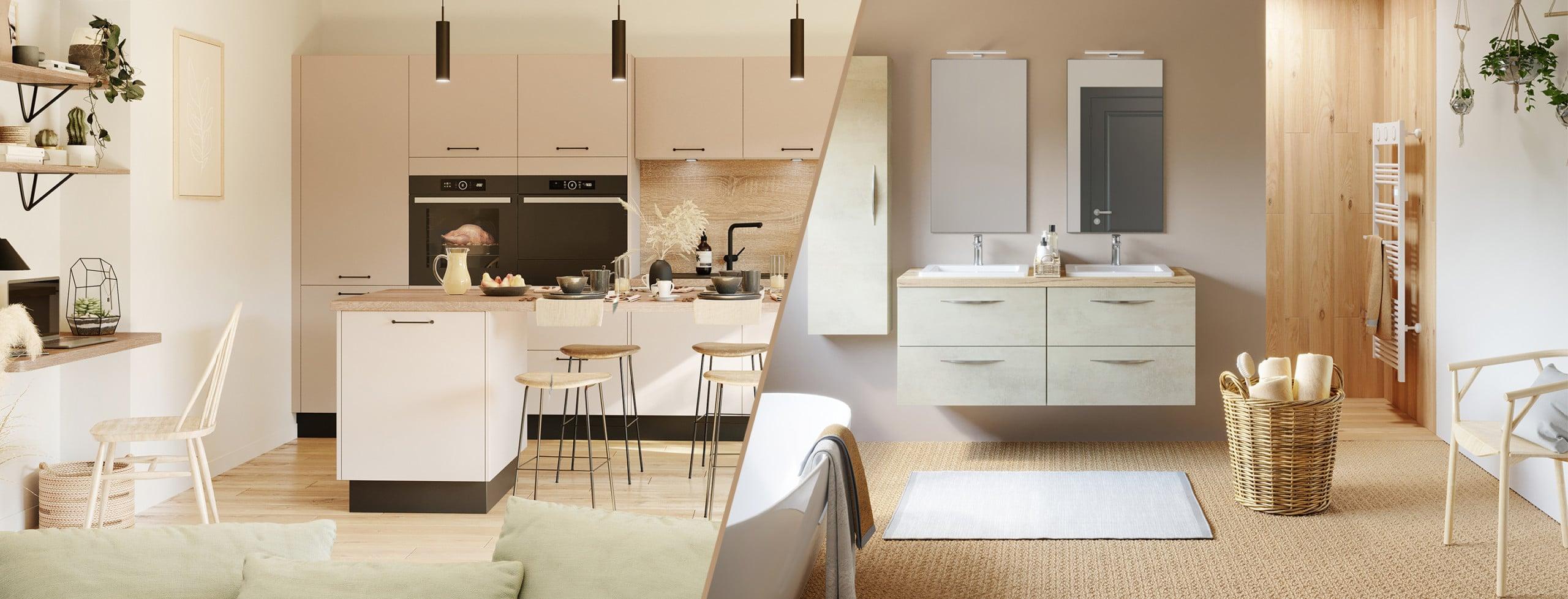 cuisine et salle de bain style épuré discac