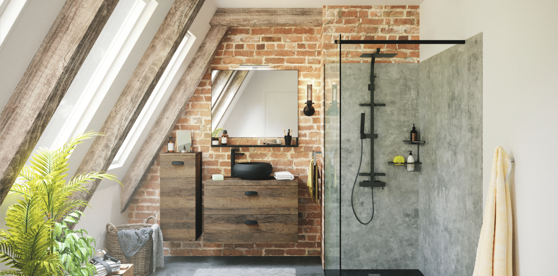 salles de bain chêne vintage