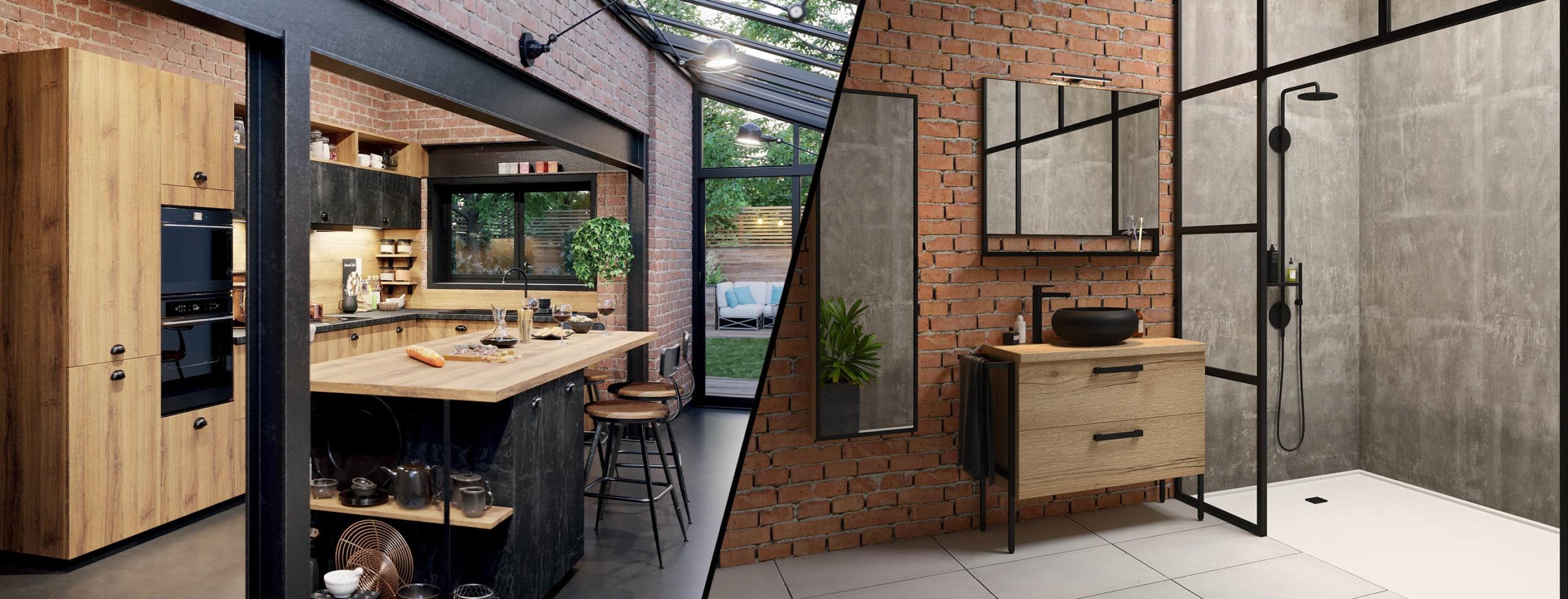 style industriel cuisine et salles de bain discac